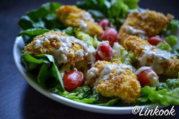 Salade César au poulet croustillant sans gluten & sans lactose | ©Yood (Good food good mood for you)